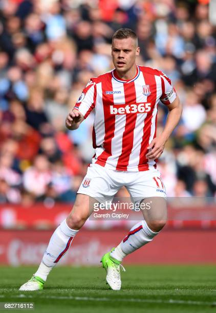 Ryan Shawcross of Stoke City during the Premier League match between Stoke City and Arsenal at Bet365 Stadium on May 13 2017 in Stoke on Trent England