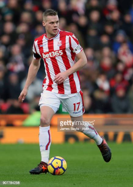Ryan Shawcross of Stoke City during the Premier League match between Stoke City and Huddersfield Town at Bet365 Stadium on January 20 2018 in Stoke...