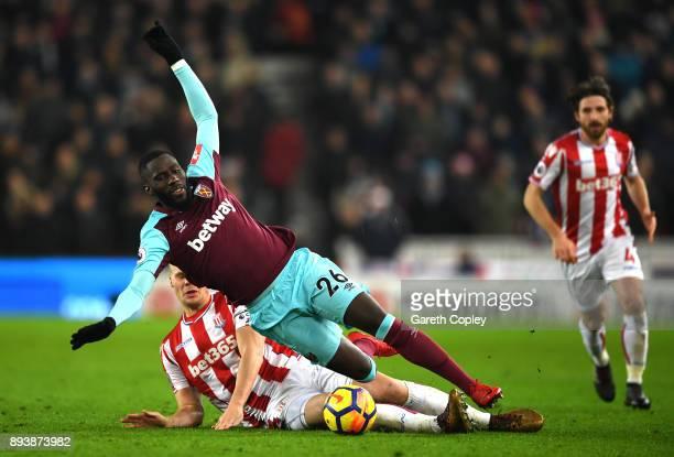 Ryan Shawcross of Stoke City fouls Arthur Masuaku of West Ham United during the Premier League match between Stoke City and West Ham United at Bet365...