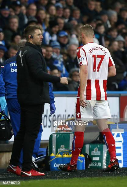 Ryan Shawcross of Stoke City goes off injured during the Premier League match between Huddersfield Town and Stoke City at John Smith's Stadium on...