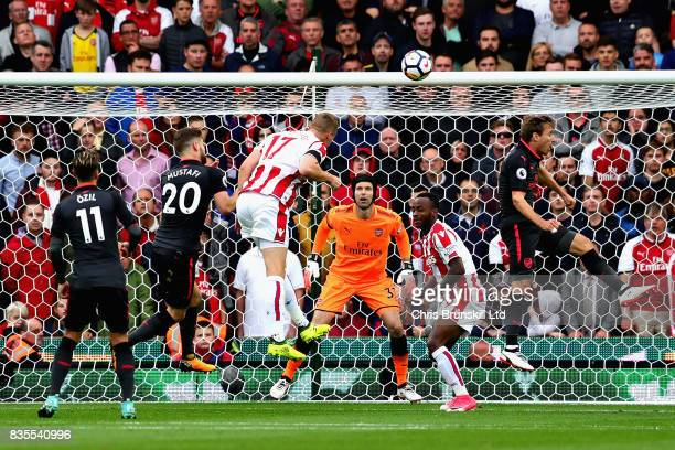 Ryan Shawcross of Stoke City heads towards goal during the Premier League match between Stoke City and Arsenal at Bet365 Stadium on August 19 2017 in...