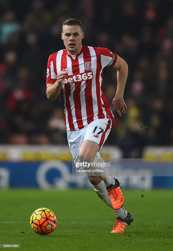 Ryan Shawcross of Stoke City in action during the Barclays Premier League match between Stoke City and Arsenal at The Britannia Stadium on January 17, 2016 in Stoke on Trent, England.