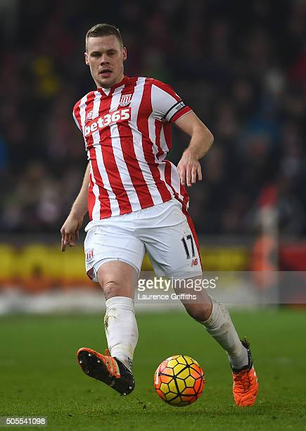 Ryan Shawcross of Stoke City in action during the Barclays Premier League match between Stoke City and Arsenal at The Britannia Stadium on January 17...