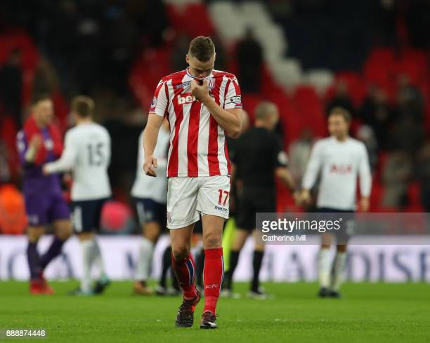 Ryan Shawcross of Stoke City look dejected after the Premier League match between Tottenham Hotspur and Stoke City at Wembley Stadium on December 9...