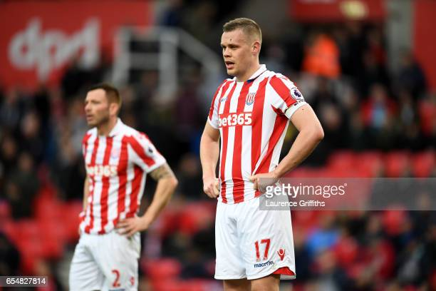 Ryan Shawcross of Stoke City looks dejected after the Premier League match between Stoke City and Chelsea at Bet365 Stadium on March 18 2017 in Stoke...