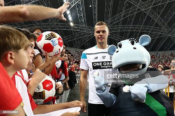 Ryan Shawcross of Stoke City meets the fans during a Stoke City open training session ahead of the match between Stoke City and Everton during the...
