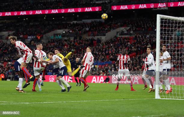 Ryan Shawcross of Stoke City scores a goal to make it 51 during the Premier League match between Tottenham Hotspur and Stoke City at Wembley Stadium...