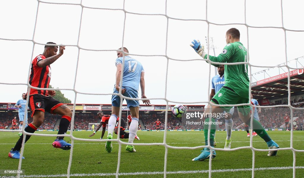 Ryan Shawcross of Stoke City (C) scores a own goal for AFC Bournemouth's second goal during the Premier League match between AFC Bournemouth and Stoke City at the Vitality Stadium on May 6, 2017 in Bournemouth, England.