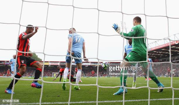 Ryan Shawcross of Stoke City scores a own goal for AFC Bournemouth's second goal during the Premier League match between AFC Bournemouth and Stoke...