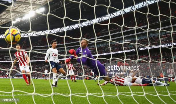 Ryan Shawcross of Stoke City scores a own goal for Tottenham Hotspur first goal of the game during the Premier League match between Tottenham Hotspur...