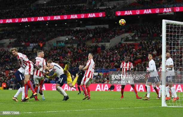 Ryan Shawcross of Stoke City scores his sides first goal during the Premier League match between Tottenham Hotspur and Stoke City at Wembley Stadium...