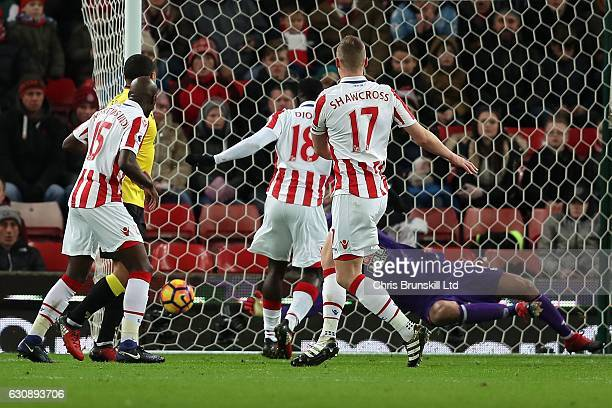 Ryan Shawcross of Stoke City scores the opening goal during the Premier League match between Stoke City and Watford at the Bet365 Stadium on January...