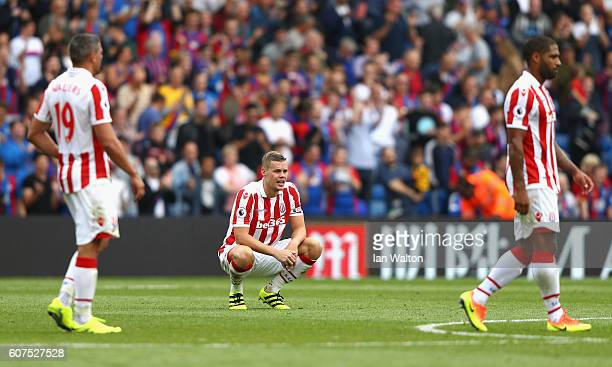 Ryan Shawcross of Stoke City shows dejection after the final whistle during the Premier League match between Crystal Palace and Stoke City at...
