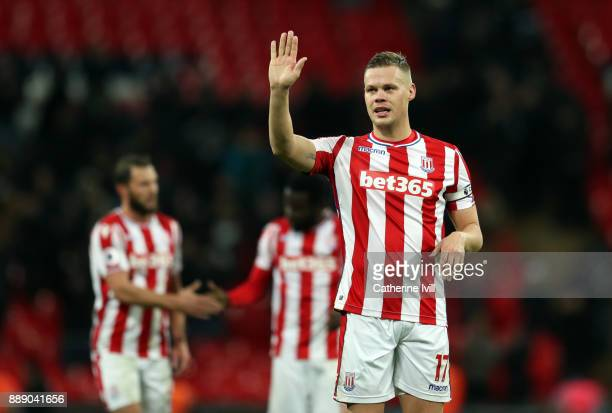 Ryan Shawcross of Stoke City waves during the Premier League match between Tottenham Hotspur and Stoke City at Wembley Stadium on December 9 2017 in...