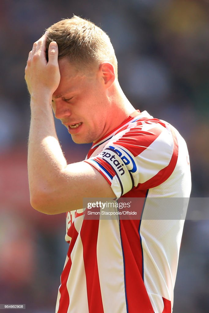 Ryan Shawcross of Stoke looks dejected during the Premier League match between Stoke City and Crystal Palace at the Bet365 Stadium on May 5, 2018 in Stoke-on-Trent, England.