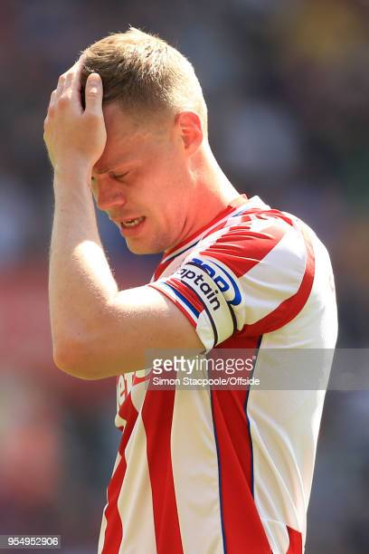 Ryan Shawcross of Stoke looks dejected during the Premier League match between Stoke City and Crystal Palace at the Bet365 Stadium on May 5 2018 in...