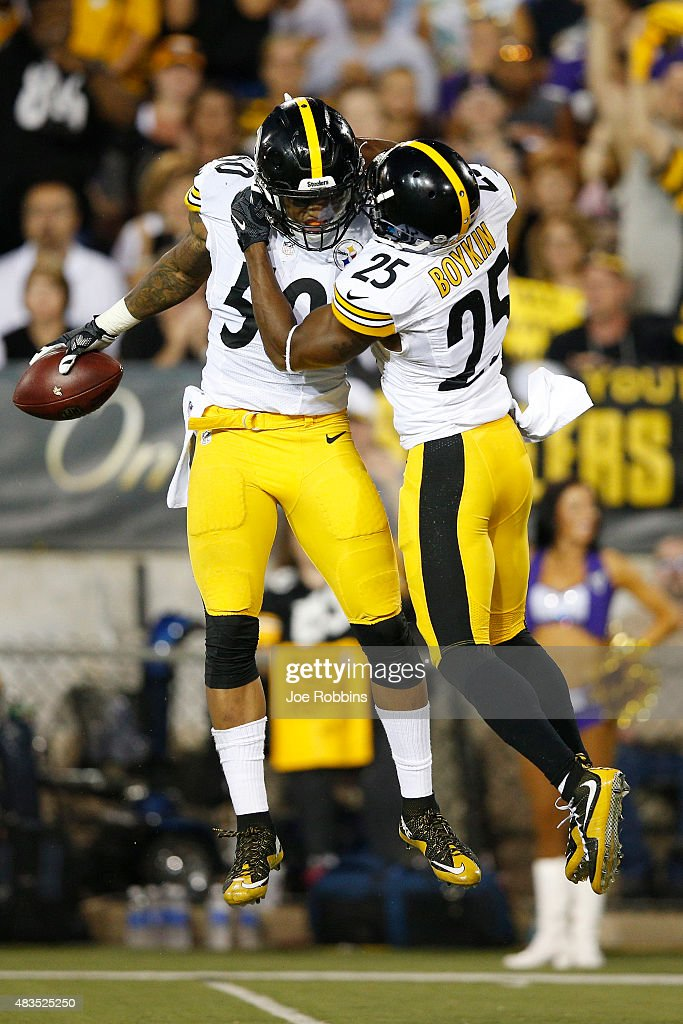 Ryan Shazier #50 and Brandon Boykin #25 of the Pittsburgh Steelers celebrate in the first half of the NFL Hall of Fame Game against the Minnesota Vikings at Tom Benson Hall of Fame Stadium on August 9, 2015 in Canton, Ohio.