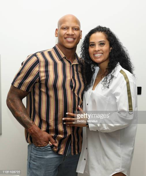 Ryan Shazier and Michelle Rodriguez attend the 6th Annual A Night On The Runwade at Aventura Mall on March 16 2019 in Miami Florida