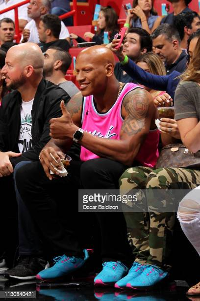 Ryan Shazier attends a game between the Milwaukee Bucks and Miami Heat on March 15 2019 at American Airlines Arena in Miami Florida NOTE TO USER User...