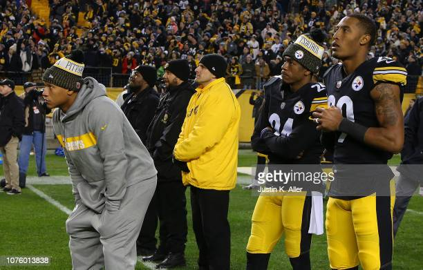 Ryan Shazier of the Pittsburgh Steelers along with Coty Sensabaugh and Brian Allen watch the Cleveland Browns play the Baltimore Ravens on the...