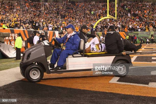 Ryan Shazier of the Pittsburgh Steelers is taken off the field after suffering a back injury during the game against the Cincinnati Bengals at Paul...