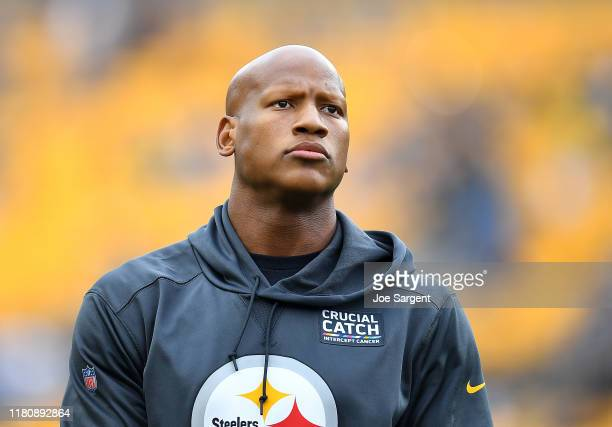 Ryan Shazier of the Pittsburgh Steelers looks on during the game against the Baltimore Ravens at Heinz Field on October 6, 2019 in Pittsburgh,...
