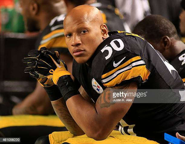 Ryan Shazier of the Pittsburgh Steelers looks on during the Wild Card game on January 3 2015 at Heinz Field in Pittsburgh Pennsylvania
