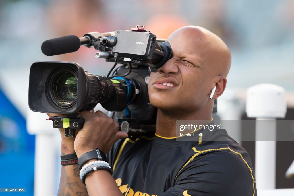 Ryan Shazier #50 of the Pittsburgh Steelers operates a video camera prior to the preseason game against the Philadelphia Eagles at Lincoln Financial Field on August 9, 2018 in Philadelphia, Pennsylvania. The Steelers defeated the Eagles 31-14.