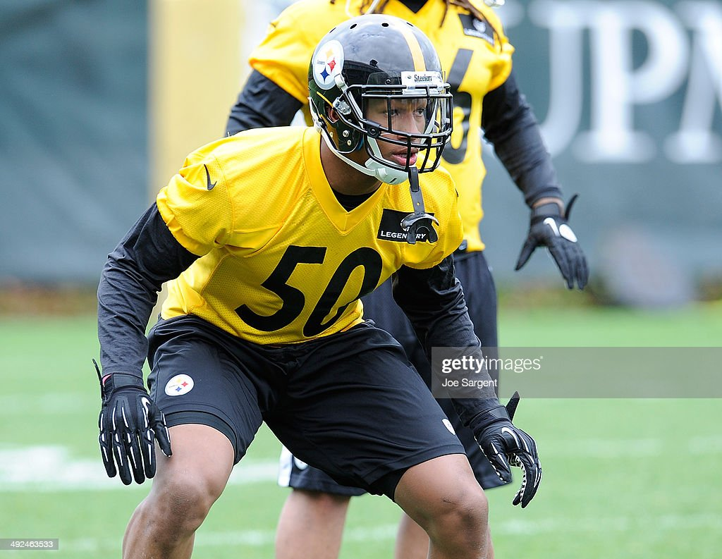Ryan Shazier #50 of the Pittsburgh Steelers participates in drills during rookie minicamp at the Pittsburgh Steelers Training Facility on May 16, 2014 in Pittsburgh, Pennsylvania.