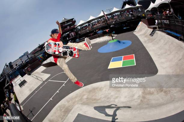 Ryan Sheckler of the US skates during Skateboard Street Finals at the X Games Los Angeles 2012 at LA Live Event Deck July 1 2012 in Los Angeles...