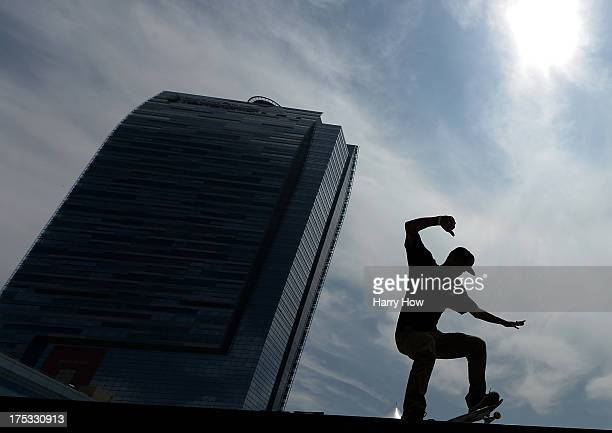 Ryan Sheckler rides before the Street League Skateboarding Preliminary during X Games Los Angeles at the Event Deck at LA Live on August 2 2013 in...