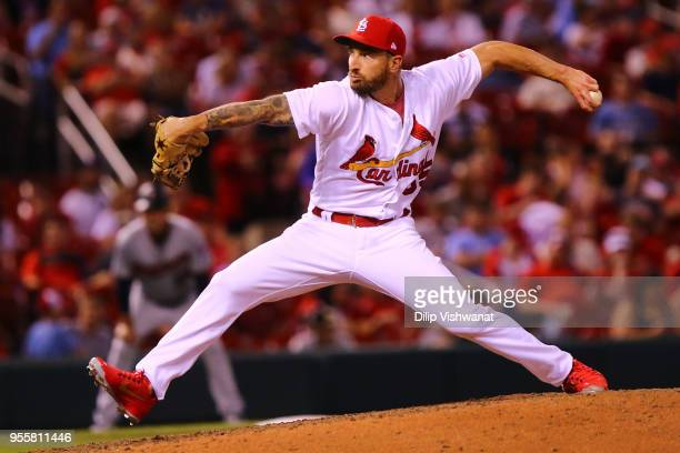 Ryan Sherriff of the St Louis Cardinals delivers a pitch against the Minnesota Twins in the eighth inning at Busch Stadium on May 7 2018 in St Louis...