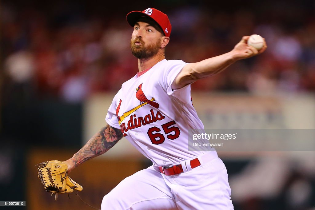 Ryan Sherriff #65 of the St. Louis Cardinals pitches against the Cincinnati Reds in the fifth inning at Busch Stadium on September 13, 2017 in St. Louis, Missouri.