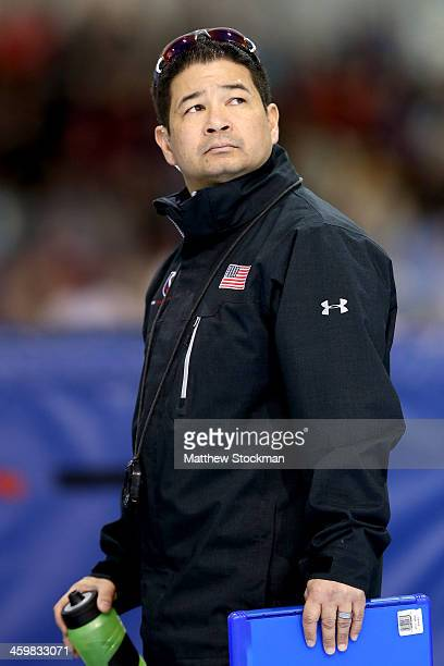 Ryan Shimabukuro national sprint team head coach on the sidelines during the US Speed Skating Long Track Olympic Trials at the Utah Olympic Oval on...