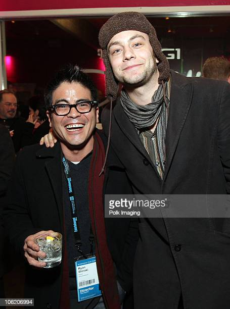 Ryan Shiraki and Jonathan Sadowski attend the TMobile G1 Diner Spring Breakdown Cast Dinner at Village at the Yard in Park City Utah on January 16...