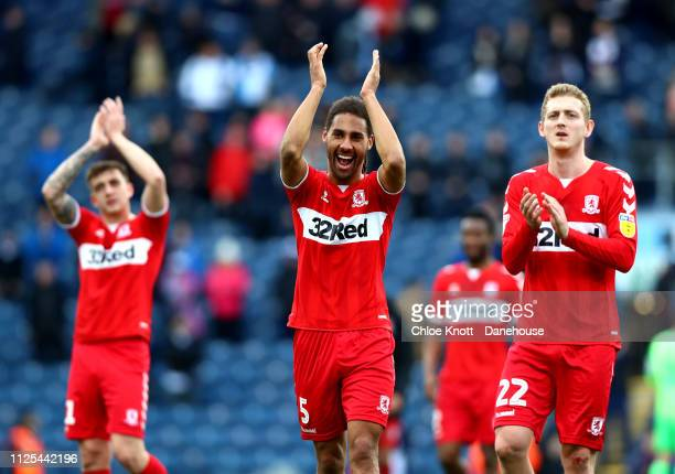 Ryan Shotton and George Saville of Middlesbrough FC applauds the crowd after the Sky Bet Championship match between Blackburn Rovers and...