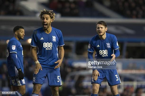 Ryan Shotton and Jonathan Grounds of Birmingham City give instructions to Tomasz Kuszczak during the Sky Bet Championship match between Birmingham...