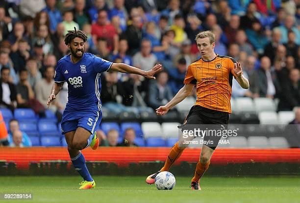 Ryan Shotton of Birmingham City and Jon Dadi Bodvarsson of Wolverhampton Wanderers during the Sky Bet Championship match between Birmingham City and...