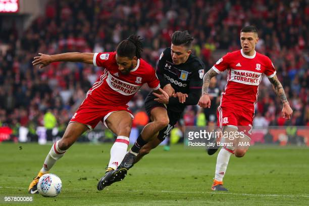 Ryan Shotton of Middlesbrough and Jack Grealish of Aston Villa during the Sky Bet Championship Play Off Semi Final First Leg match between...