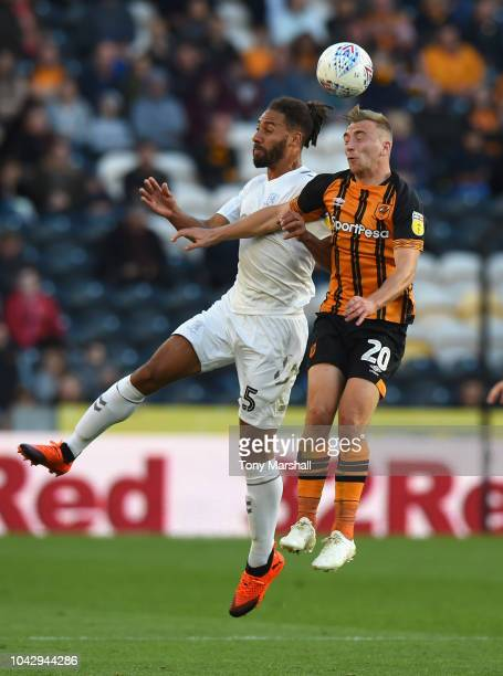 Ryan Shotton of Middlesbrough is challenged by Jarrod Bowen of Hull City during the Sky Bet Championship match between Hull City and Middlesbrough at...
