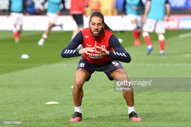 Ryan Shotton of Middlesbrough warming up during the Sky Bet Championship match between Charlton Athletic and Middlesbrough at The Valley London on...