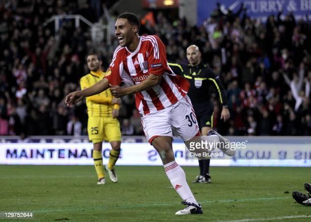 Ryan Shotton of Stoke City celebrates scoring his team's third goal during the UEFA Europa League Group E match between Stoke City and Maccabi...