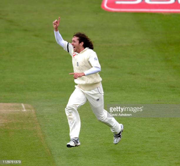 Ryan Sidebottom celebrates after taking the wicket of Devon Smith England v West indies 2nd cricket test at Headingley Leeds 28th May 2007.