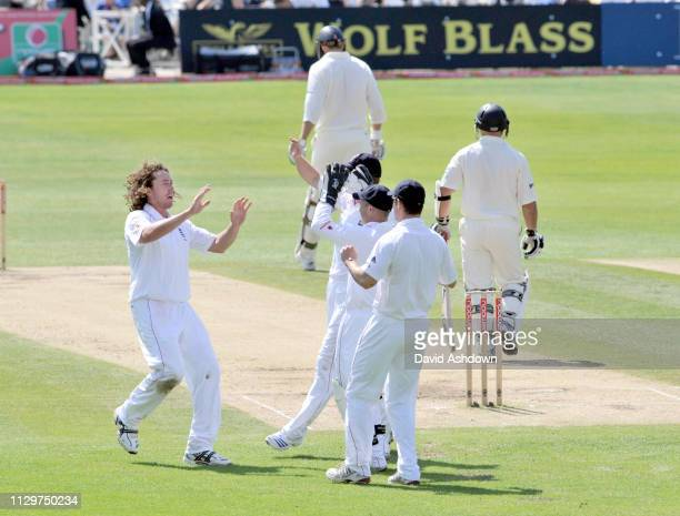 Ryan Sidebottom celebrates after taking the wicket of Gareth Hopkins during England V New Zealand 3rd Test at Trent Bridge 8th June 2008.