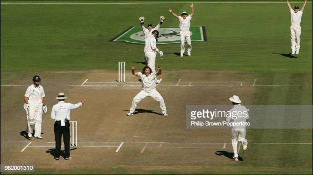 Ryan Sidebottom of England celebrates as umpire Daryl Harper gives New Zealand's Jacob Oram out LBW to give Sidebottom his hattrick during the 1st...