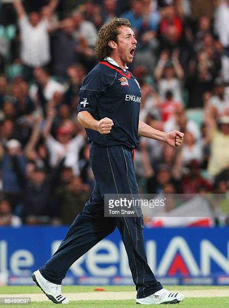 Ryan Sidebottom of England celebrates the wicket of Chris Gayle of the West Indies during the ICC World Twenty20 Super Eights match between England...