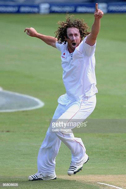Ryan Sidebottom of England celebrates the wicket of Jacques Kallis of South Africa during day 3 of the 4th Test match between South Africa and...
