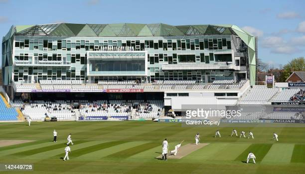 Ryan Sidebottom of Yorkshire bowls the opening ball to Scott Newman of Kent during the LV County Championship between Yorkshire and Kent at...