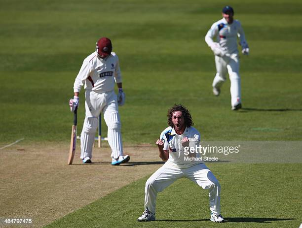 Ryan Sidebottom of Yorkshire celebrates bowling Marcus Trescothick of Somerset during day two of the LV County Championship match between Somerset...