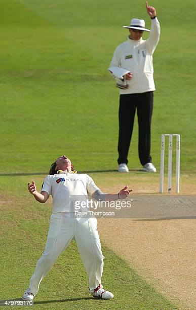 Ryan Sidebottom of Yorkshire celebrates taking the wicket of Varun Chopra of Warwickshire during day three of the LV County Championship Division One...
